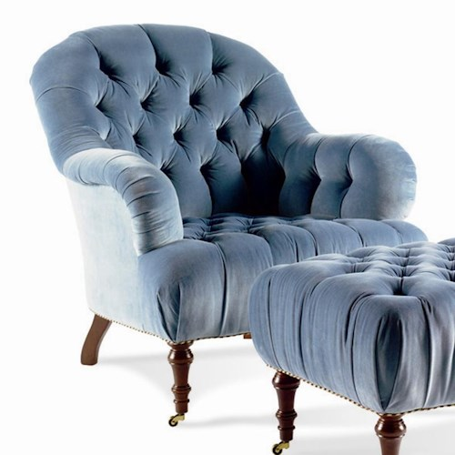 Sherrill Dan Carithers Tufted Back Lounge Chair with Front Caster Wheels