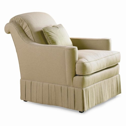 Sherrill Dan Carithers Rolled Back Lounge Chair with High Box Pleat Skirt