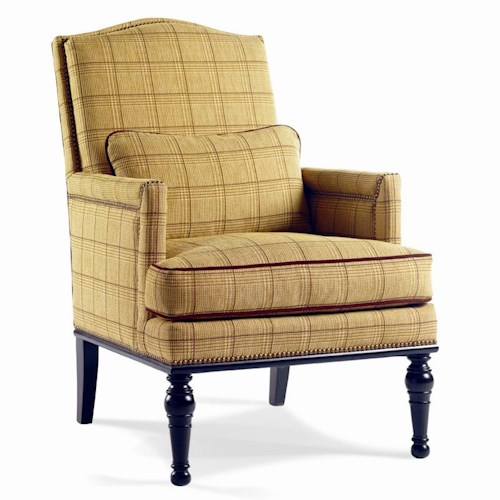 Sherrill Dan Carithers Semi-Attached Back Lounge Chair with Nailhead Trim and Exposed Turned Legs