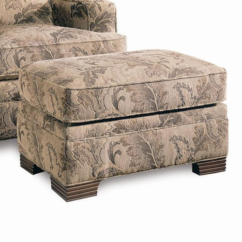 Sherrill Design Your Own Ottoman with Exposed Wood Feet