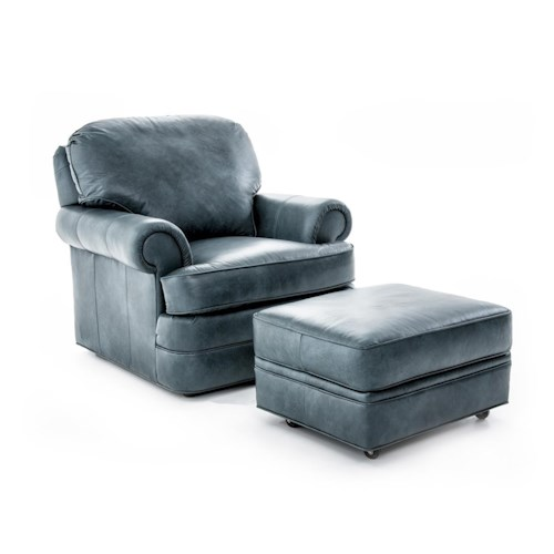 Sherrill Design Your Own Customizable Rolled Arm Chair and Ottoman Set