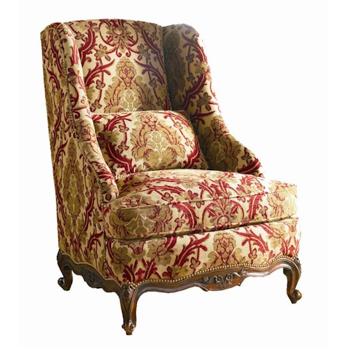 Sherrill Masterpiece Floral Carving Chair with Nail Head Trim