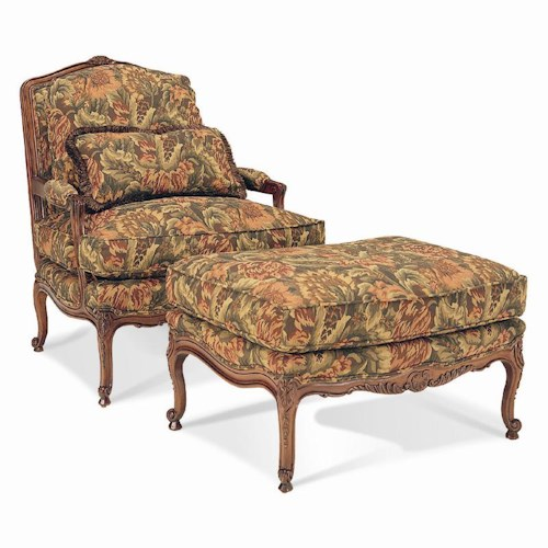 Sherrill Traditional Exposed Wood Upholstered Chair & Ottoman