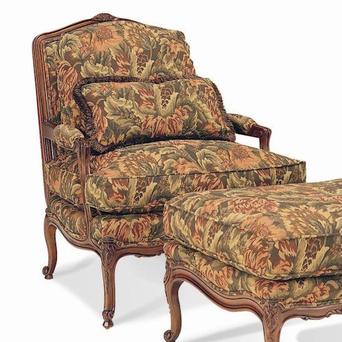 Sherrill Traditional Exposed Carved Wood Chair with Loose Pillow Back