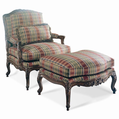 Sherrill Traditional Louis XV Carved Wood Armchair & Ottoman
