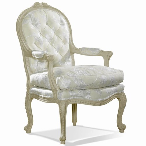 Sherrill Traditional Carved Arm Chair with Hand Tufted Back