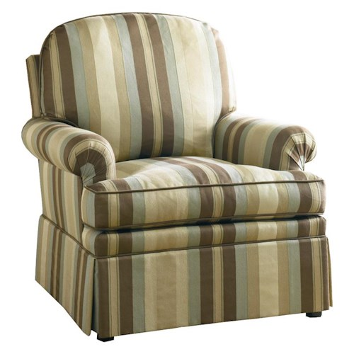 Sherrill Traditional Lounge Chair with Loose Pillow Back, Pleated Arm, and Skirt