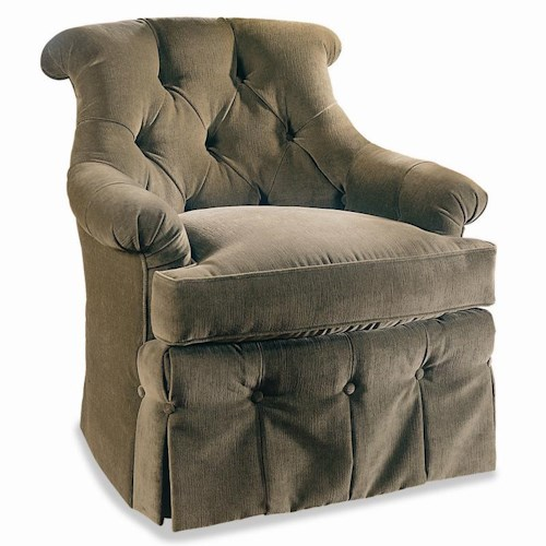 Sherrill Traditional Tufted Back Lounge Chair with Button Dressmaker Skirt