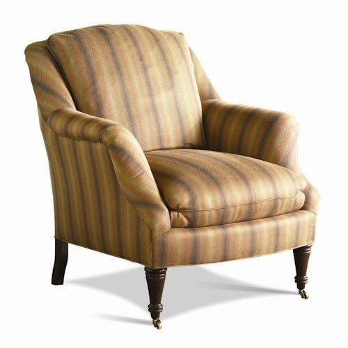 Sherrill Traditional Lounge Chair with English Arms and Turned Legs with Casters