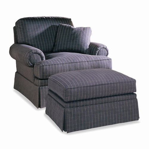 Sherrill Traditional Lawson Style Lounge Chair & Ottoman with Skirt