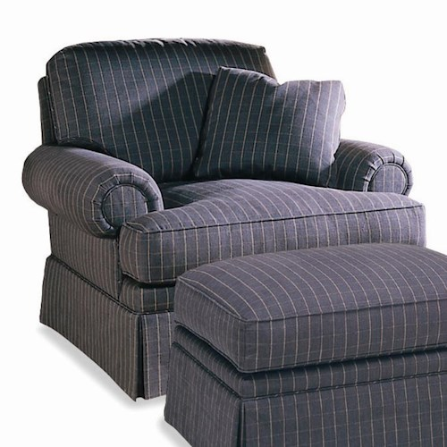 Sherrill Traditional Lawson Style Lounge Chair with Rolled Arms and Skirt