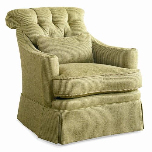 Sherrill Traditional Crescent Front Lounge Chair with Tufted Back