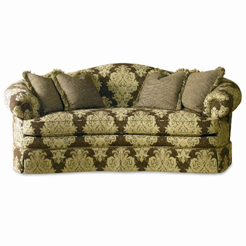 Sherrill Traditional Crescent Front Sofa with Camel Back