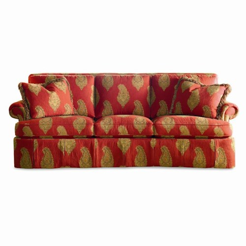 Sherrill Traditional Lawson Sofa with Rolled Arms and Skirt