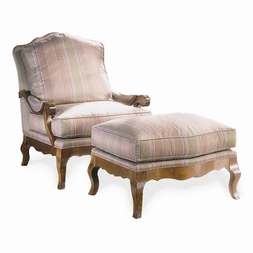 Sherrill Traditional French Exposed Wood Lounge Chair & Ottoman with Carved Wood Legs