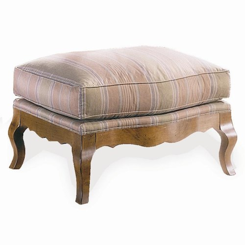 Sherrill Traditional Ottoman with Serpentine Front and Carved Wood Legs