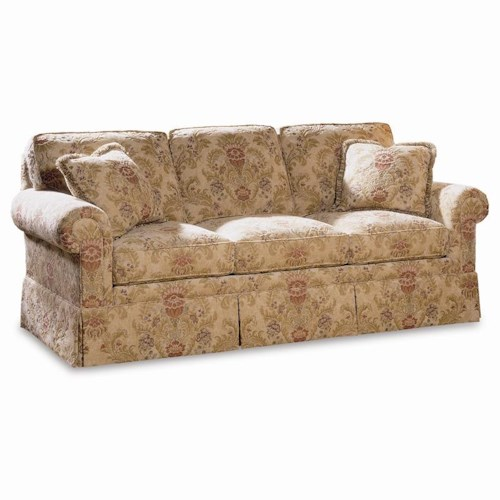 Sherrill Traditional Sofa with Loose Cushion Back and Round Panel Arms