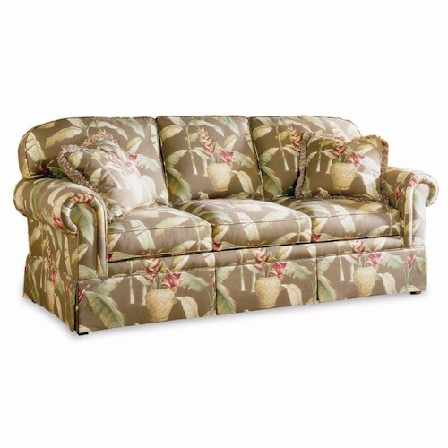 Sherrill Traditional Loose Back Sofa with Round Panel Arms
