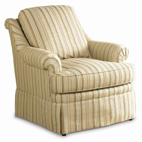 Sherrill Traditional Lounge Chair with Pleated Arms, Loose Back, and Skirt
