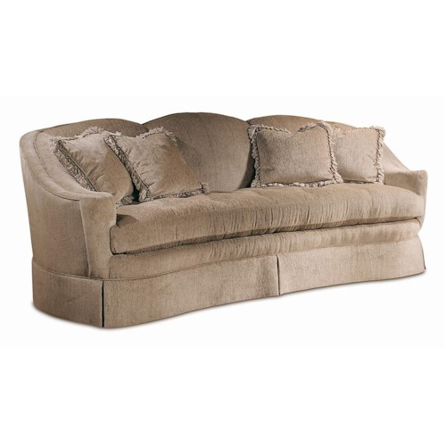 Sherrill Traditional Upholstered Crescent Sofa with Shaped Back