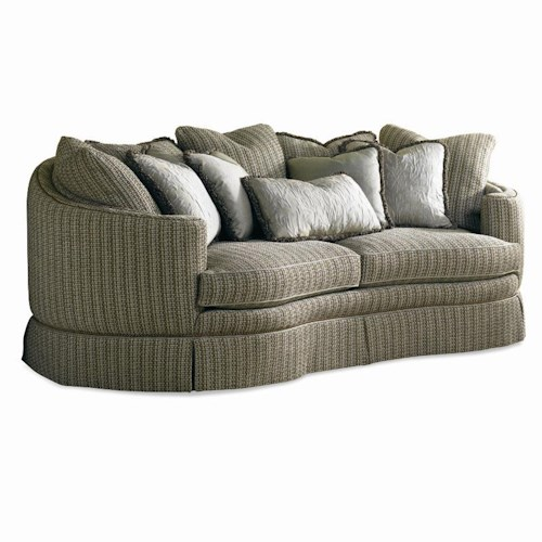 Sherrill Traditional Crescent Sofa with Multi-Pillow Back