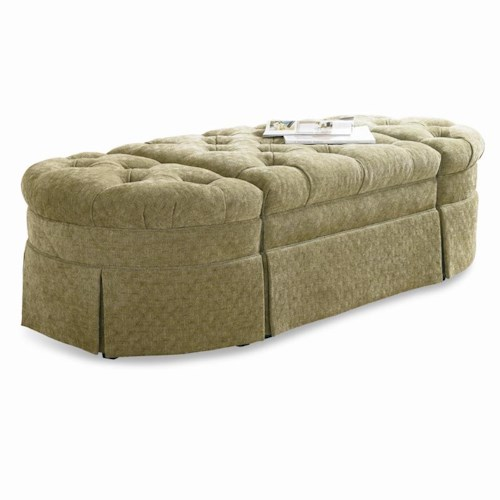 Sherrill Traditional 3-Piece Traditional Bench / Ottoman Set with Tufted Tops and Skirts