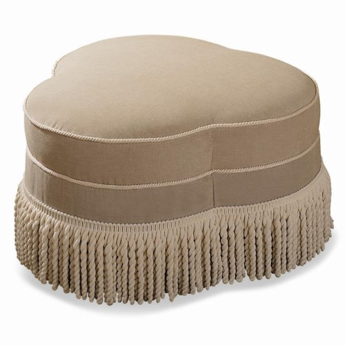 Sherrill Traditional Cloverleaf Bench / Ottoman with Jumbo Fringe