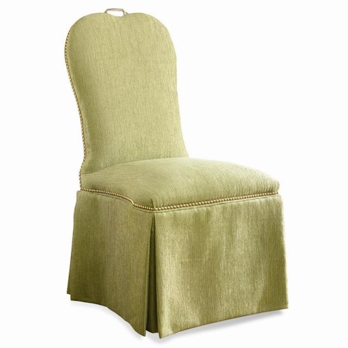 Sherrill Traditional Upholstered Dining Chair with Dressmaker Skirt and Nailhead Trim