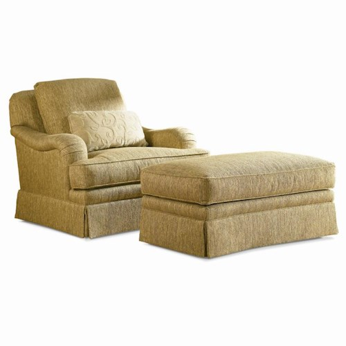 Sherrill Traditional Loose Back Swivel Chair & Ottoman with Skirt
