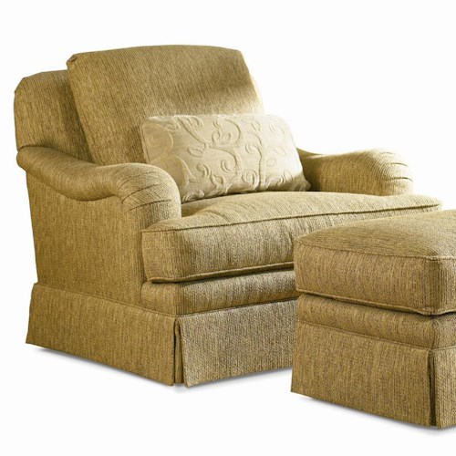 Sherrill Traditional Swiveling Lounge Chair with Loose Pillow Back