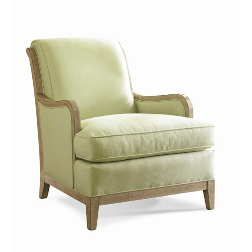 Sherrill Transitional Carved Upholstered Lounge Chair with Rolled Back and T-Cushion Seat