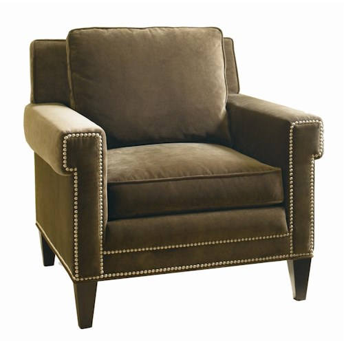 Sherrill Transitional Lounge Chair with Square Arms and Platinum Finish Nail Head Trim