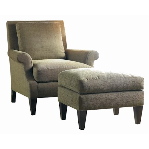 Sherrill Transitional Lounge Chair with Rolled Arms and Ottoman