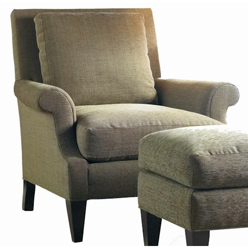 Sherrill Transitional Lounge Chair with Tapered Wood Legs and Rolled Arms