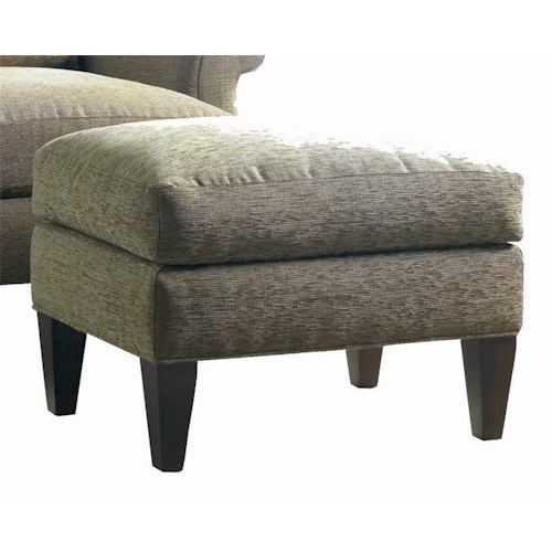 Sherrill Transitional Double Layered Lounge Ottoman with Tapered Wood Legs