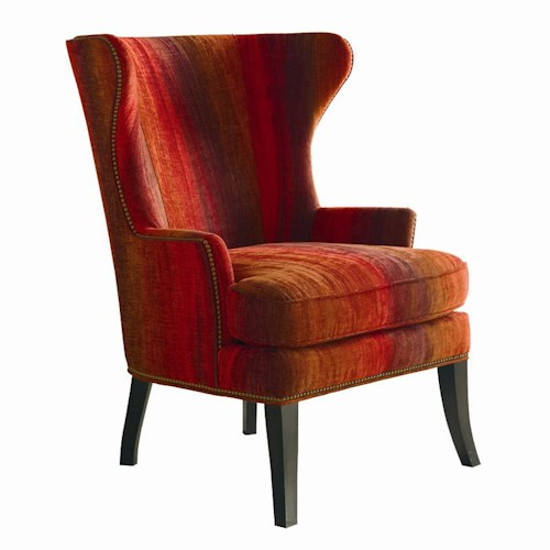 Sherrill Transitional Wing Chair with Nailhead Trim and T-Cushion