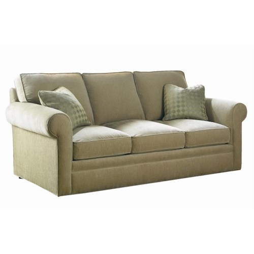 Sherrill Transitional Sofa with Rolled Arms and Upholstered Base