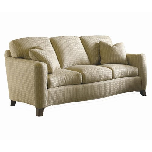 Sherrill Transitional Crescent Front Sofa with Post Arms