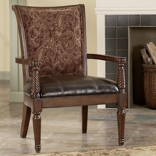 Signature Design by Ashley Barcelona - Antique Showood Accent Chair with Faux Leather Seat