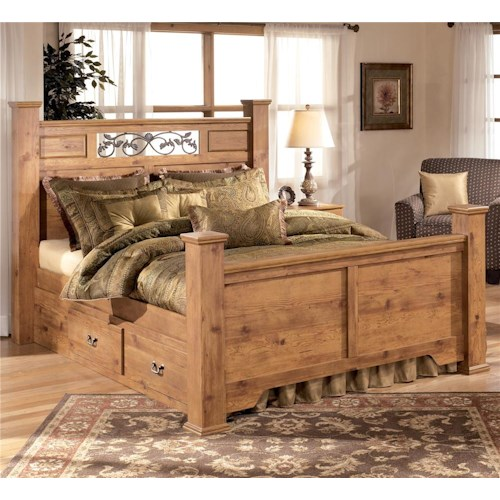 Signature Design by Ashley Bittersweet Queen Poster Bed with Under Bed Storage