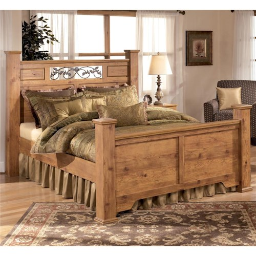 Signature Design by Ashley Bittersweet King Poster Bed with Scrolled Accents