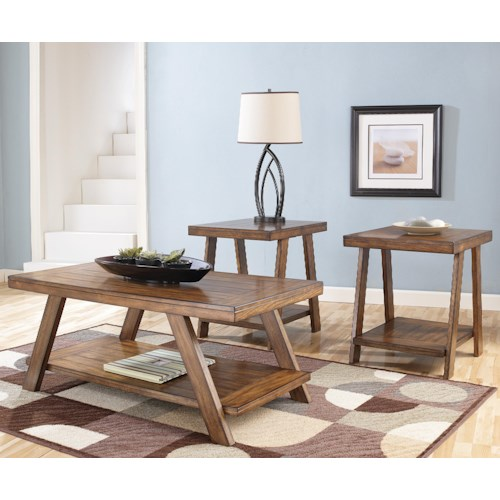 Signature Design by Ashley Bradley 3-in-1 Pack Occasional Tables w/ Cocktail Table and 2 End Tables