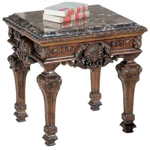 Signature Design by Ashley Casa Mollino Ornate Sqaure End Table with Stone Top