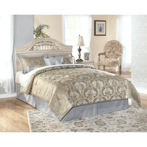 Signature Design by Ashley Catalina B196 Full/Queen-Size Headboard with Ornate Metal Insert