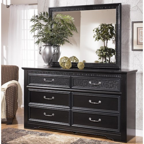 Signature Design by Ashley Cavallino 6 Drawer Dresser & Landscape Mirror Combo