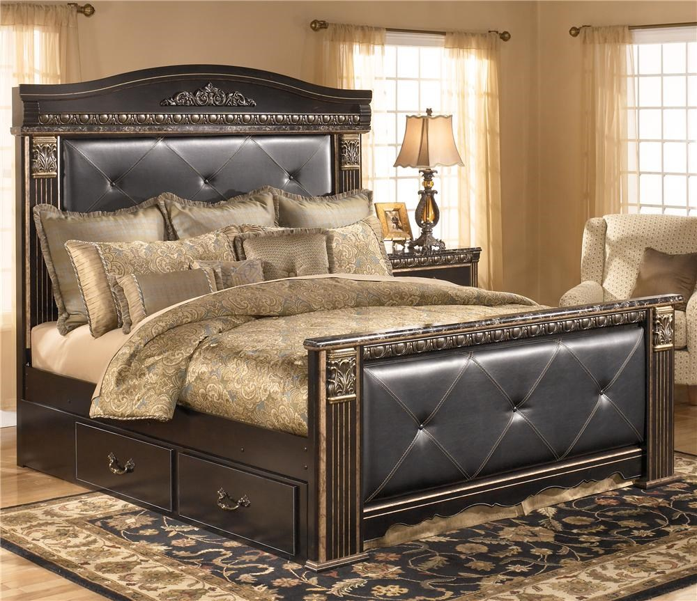 signature design by ashley coal creek king upholstered mansion bed with underbed storage signature design