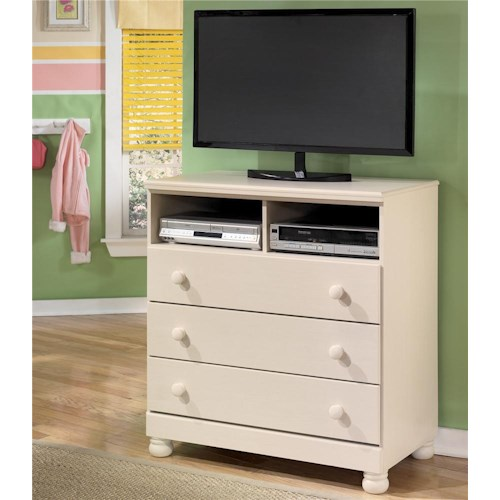 Signature Design by Ashley Cottage Retreat Three Drawer, Two Shelf Media Chest