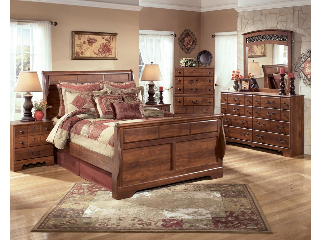 Bed Shown with Night Stand, Chest, Dresser, and Mirror