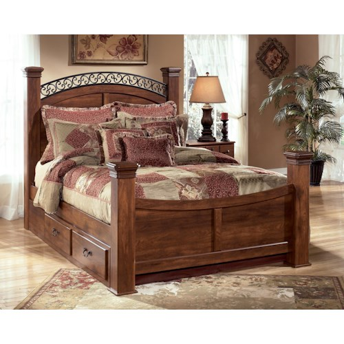 Signature Design by Ashley Pine Ridge King Poster Bed with Underbed Storage