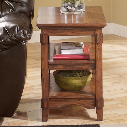 Signature Design by Ashley Cross Island Mission Chairside End Table w/ 2 Open Shelves